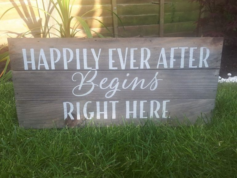 happily ever after wooden sign