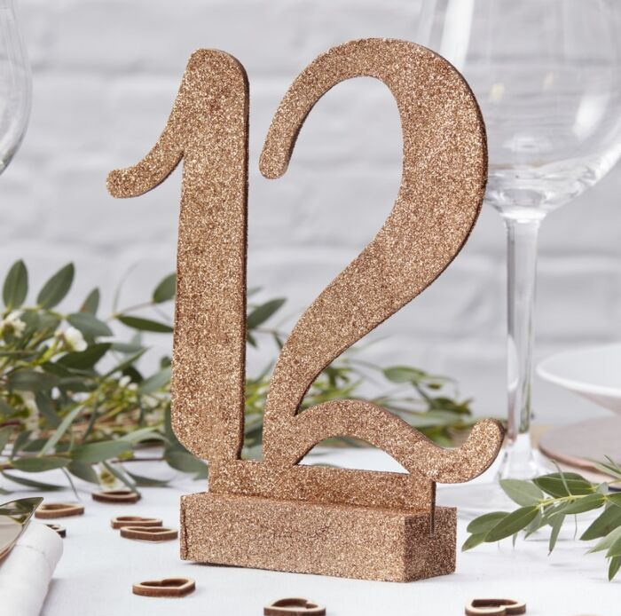Sparkly rose gold table numbers