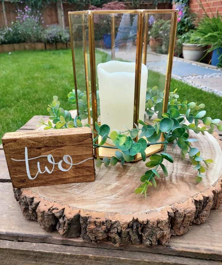 Gold lantern and wooden table number