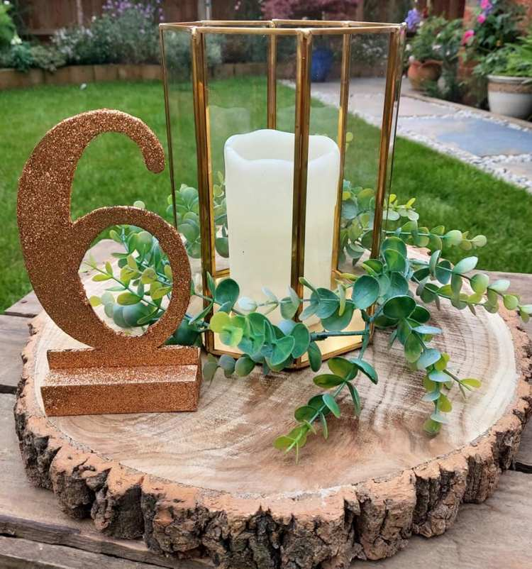 Sparkly rose gold table numberss